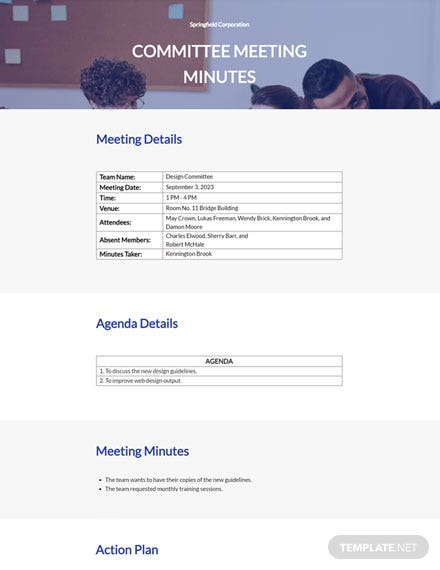 Free Committee Meeting Minutes Template