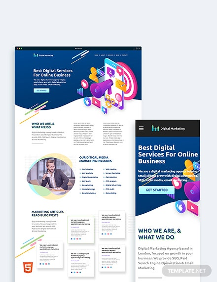 Digital Marketing Bootstrap Landing Page Template