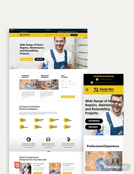 Handy Man Bootstrap Landing Page Template