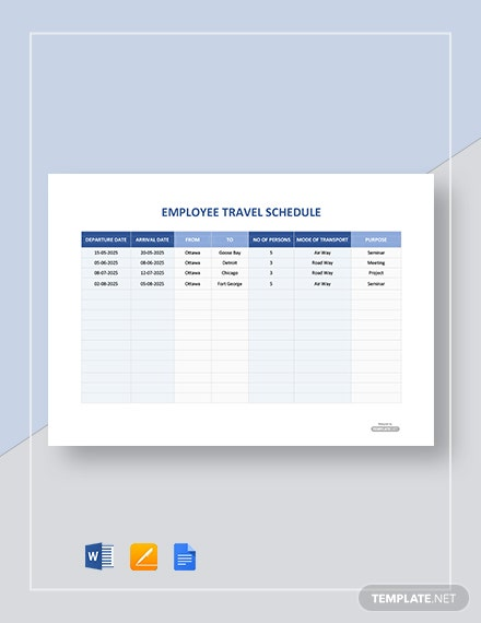 Free Employee Travel Schedule Template