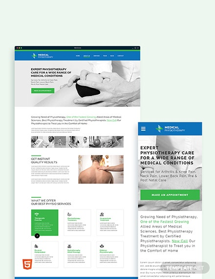 Physiotherapy Bootstrap Landing Page Template