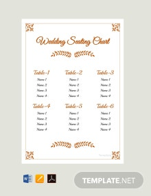 Free Simple Wedding Reception Seating Chart Template