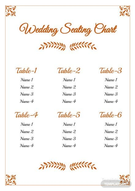floral wedding seating chart template free templates