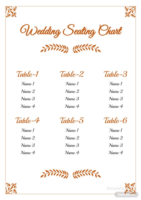 click to see full template wedding reception seating chart
