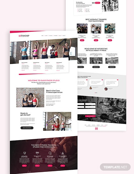 Fitness Studio Bootstrap Landing Page Download