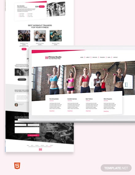 Fitness Studio Bootstrap Landing Page Template
