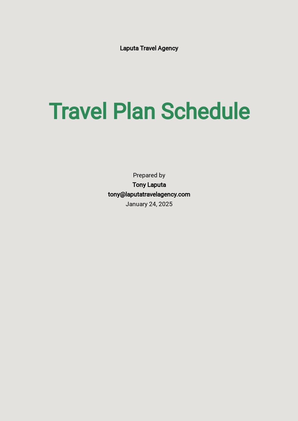 Travel Plan Schedule Template