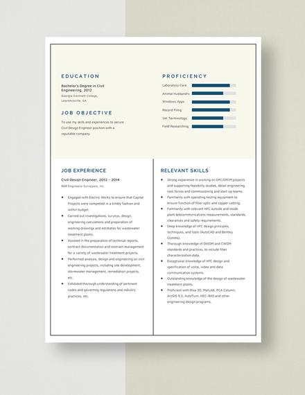 CivilDesign EngineerSTART Resume Template