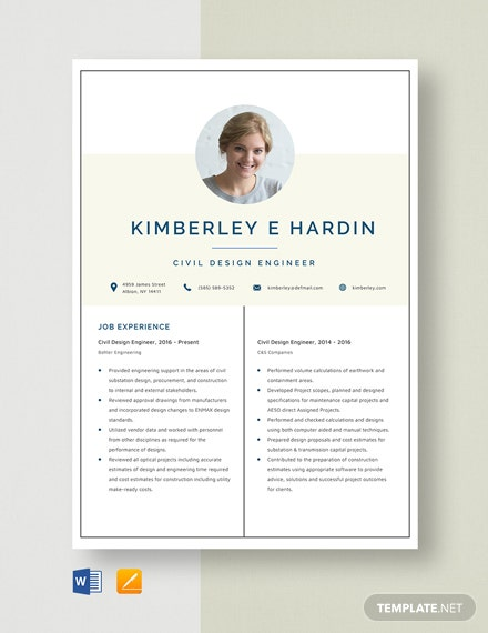 Civil Design Engineer - START Resume Template