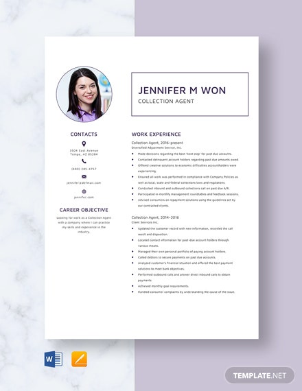 Collection Agent Resume Template Download 2932 Resumes In