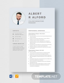 College Bookstore Manager Resume Template