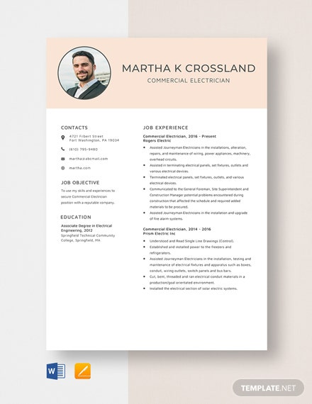 Commercial Electrician Resume Template
