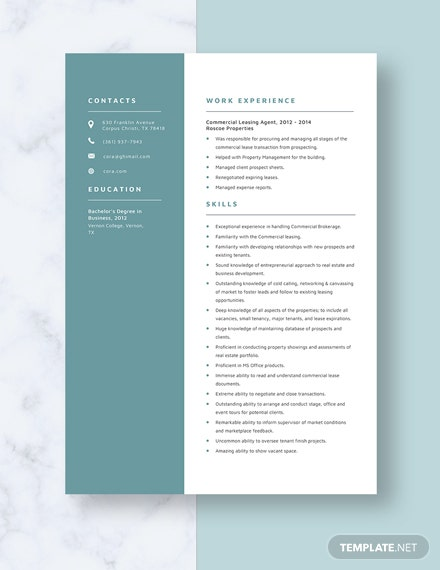Commercial Leasing Agent Resume Template