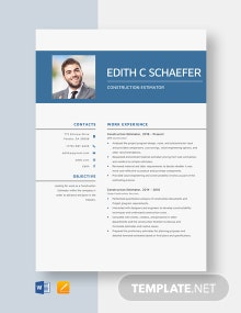 Construction Estimator Resume Template
