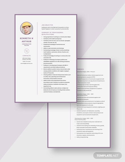 Construction Helper Resume Template [Free Pages] - Word, Apple Pages