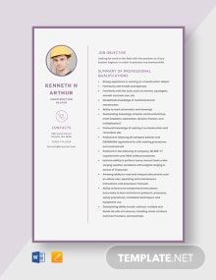 Construction Helper Resume Template