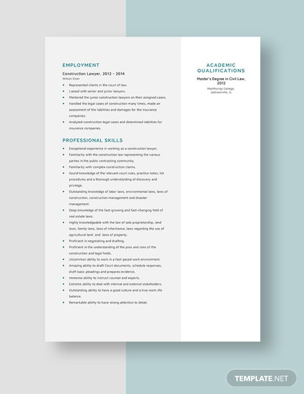 Construction Lawyer Resume Template