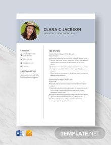Construction Paralegal Resume Template