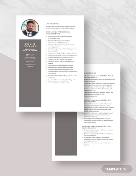 Construction Project Accountant Resume Template [Free Pages] - Word, Apple Pages