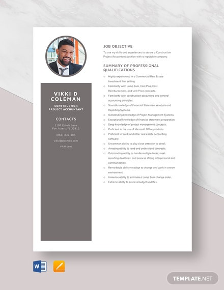 Construction Project Accountant Resume Template