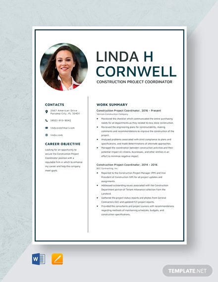Construction Project Coordinator Resume Template