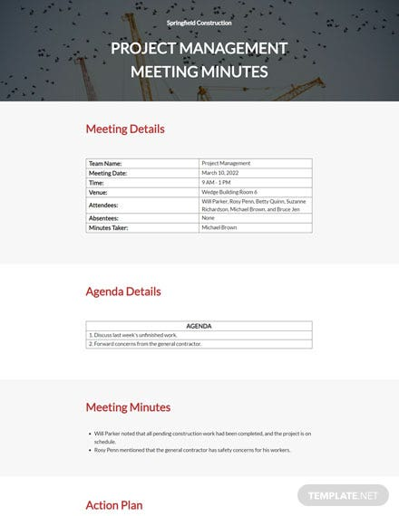 Construction Meeting Minutes Template