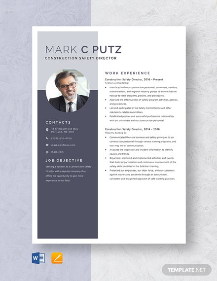 Construction Safety Director Resume Template