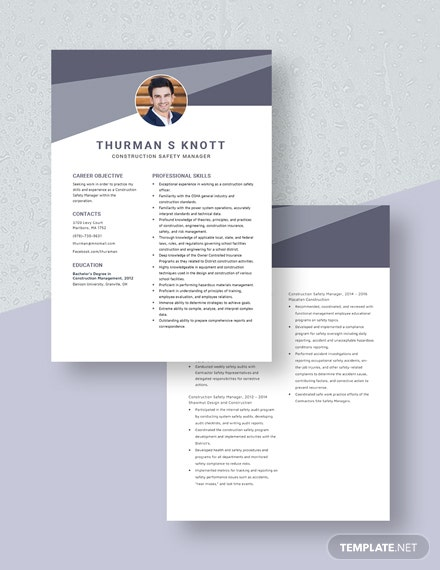 Construction Safety Manager Resume Download