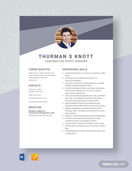 Construction Safety Manager Resume Template