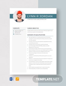 Construction Subcontractor Resume Template