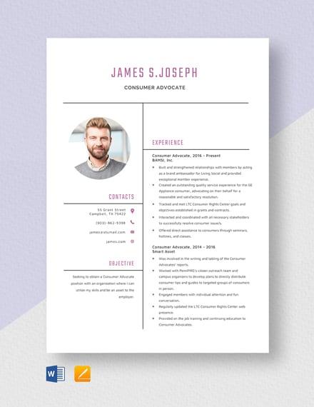 Consumer Advocate Resume Template