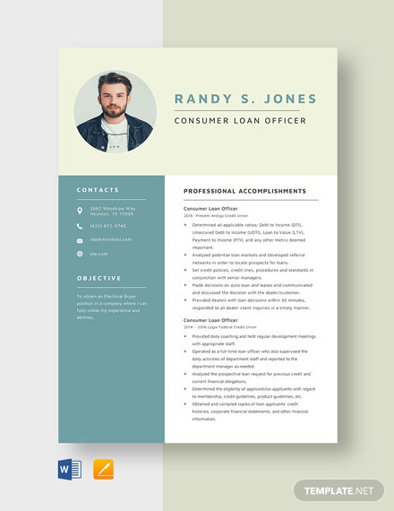 Consumer Loan Officer Resume Template