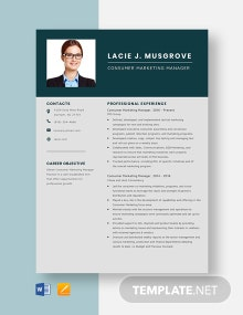 Consumer Marketing Manager Resume Template