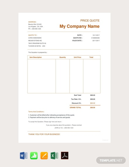 Free Ecommerce Website Quotation Template