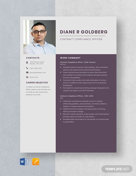 Contract Compliance Officer Resume Template