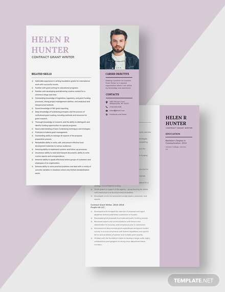 Contract Grant Writer Resume Download