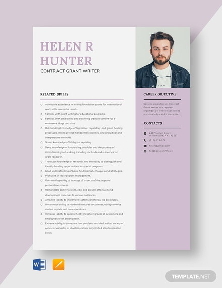 Contract Grant Writer Resume Template