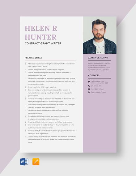 Contract Grant Writer Resume