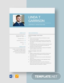 Contract Investigator Resume Template