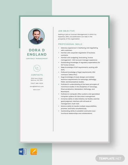 Contract Management Resume Template