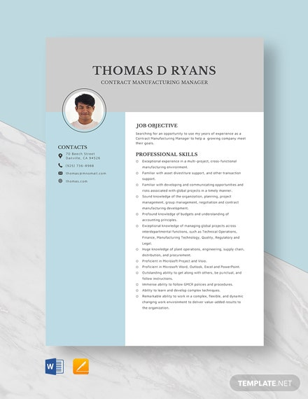 Contract Manufacturing Manager Resume Template