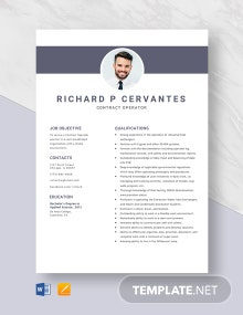 Contract Operator Resume Template