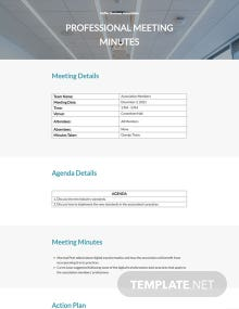 Free Professional Meeting Minutes Template