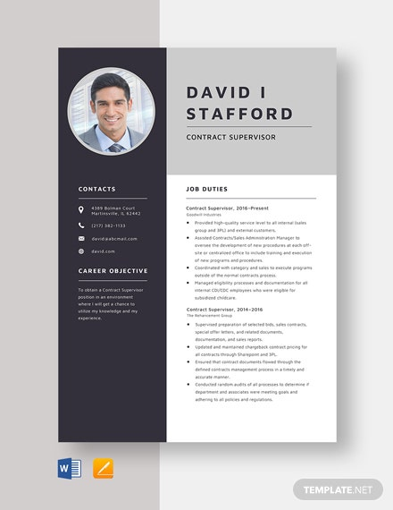 Contract Supervisor Resume Template