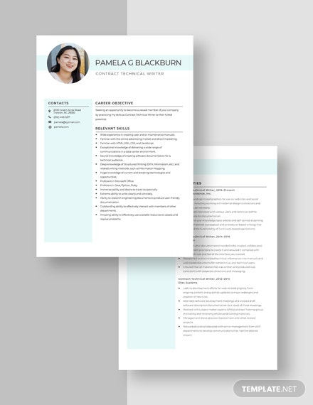Contract Technical Writer Resume Download