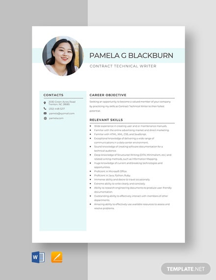 Contract Technical Writer Resume Template