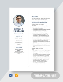 Contract Trainer Resume Template