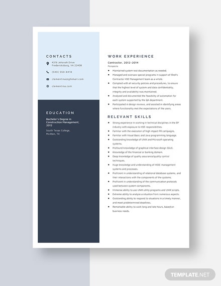 Contractor Resume Template