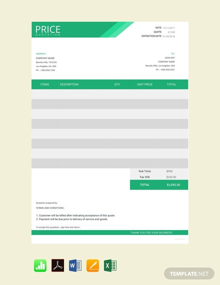 Free Web Design Quotation Template