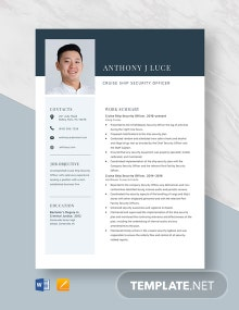 Cruise Ship Security Officer Resume Template